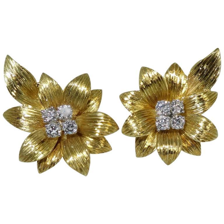 1950s Cartier Diamond Gold Flower Motif Earrings