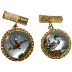 Reverse Painting under Crystal Yellow Gold Cufflinks