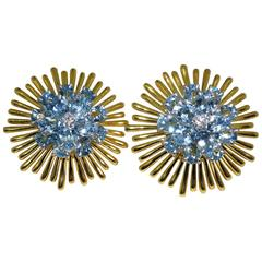 1950 Tiffany & Co. Retro aquamarine diamond Gold earrings