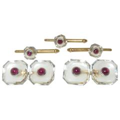 1930s Tiffany & Co. Ruby Rock Crystal Gold Cuff and Stud Set