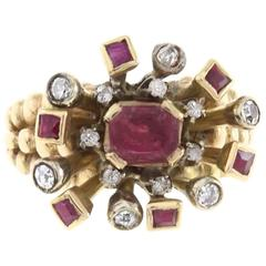 Fireworks Diamond and Ruby Gold Ring