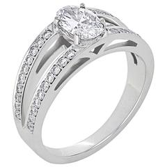 White Gold Oval White Diamond Pave Set Brilliant Tapered Band Engagement Ring