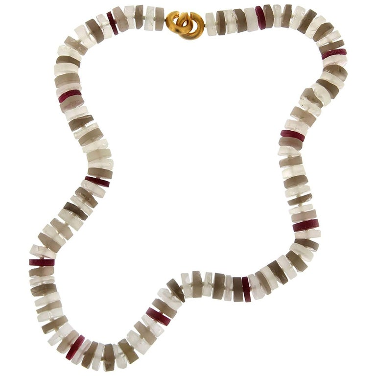 Jona Red Spinel Smoky Quartz and Rock Crystal Necklace