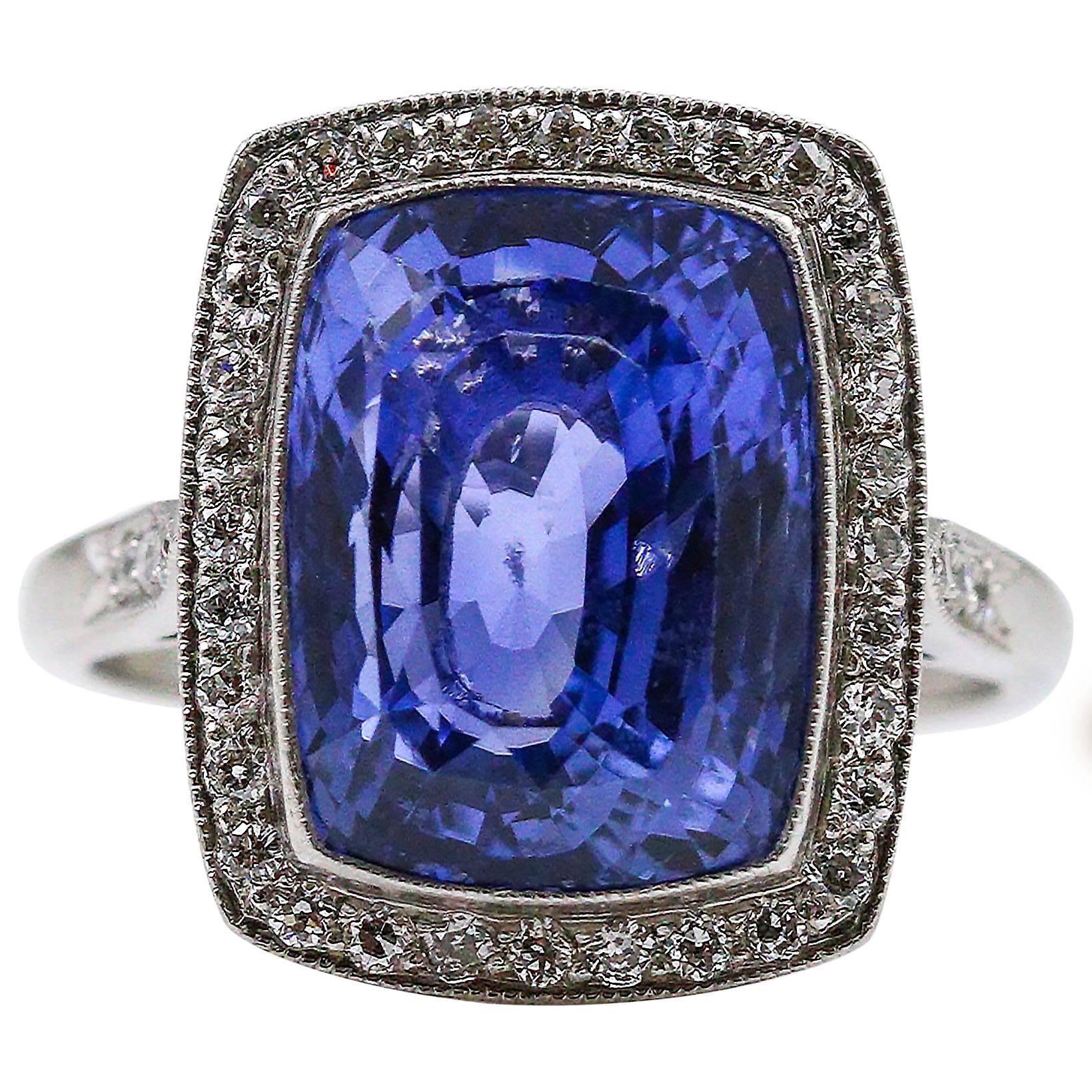 8.59 Carat Unheated Ceylon Sapphire Diamond Platinum Ring