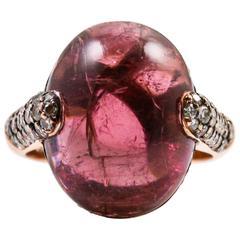 Cabochon Cut Rubellite Tourmaline Diamond Gold Ring