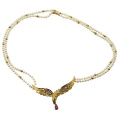 Carrera Y Carrera 18k Yellow Gold Eagle Necklace On Pearls With Ruby and Diamond