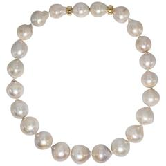 High Luster Cream White Large Freshwater Pearl Gold Clasp Necklace