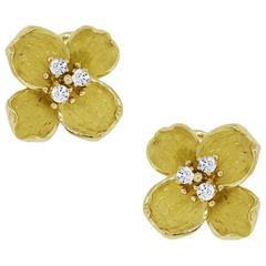 Tiffany & Co. 18k Yellow Gold Dogwood Flower Diamond Earrings