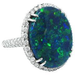 Kurt Wayne 11.50 Carat Opal Diamond Platinum Ring