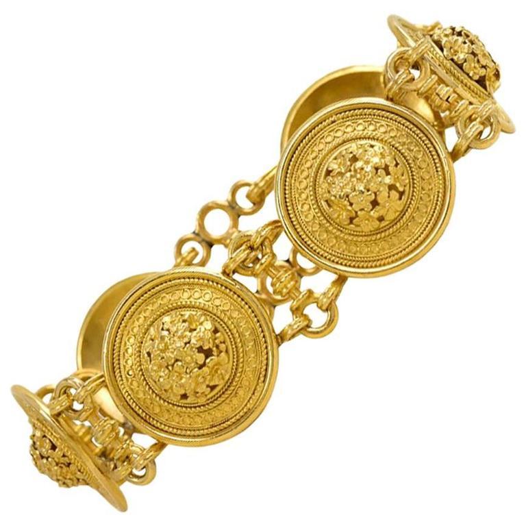 "Victorian Castellani Gold ""Millefiori"" Plaque Link Bracelet 1"