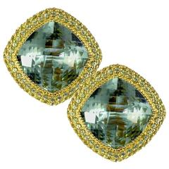 Green Amethyst Peridot Yellow Gold Stud Earrings One of a kind Handmade in NYC