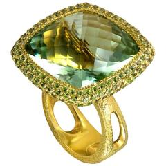 One Of a Kind Green Amethyst  Peridot Royal Gold Ring by Alex Soldier
