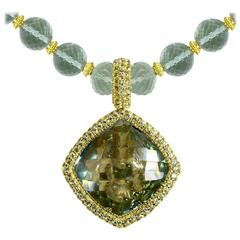 Green Amethyst Peridot Royal Gold Necklace Pendant One Of A Kind Handmade in NYC