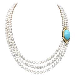 Turquoise, Diamond and Gold Three Strands of Pearl Opera Necklace