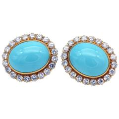 Turquoise and Diamonds Gold Earings
