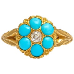 Antique Victorian Persian Turquoise Diamond Cluster Ring