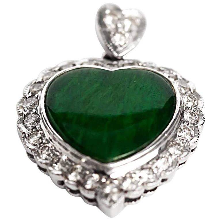 2000s White Gold GIA Certified Heart Jade and Diamond Pendant