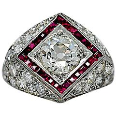 1.25 Carat Diamond Ruby Platinum Art Deco Engagement Ring