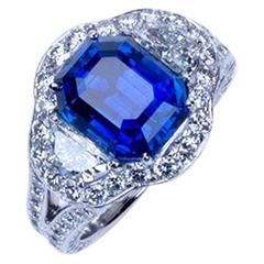 "A ""Samuel Getz"" Exceptional Unheated Emerald Cut Blue Sapphire Dia Platinum Ring"