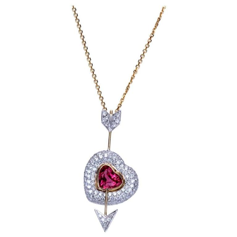"Samuel Getz Red Spinel  Diamond ""Heart and Arrow"" Pendant For Sale"
