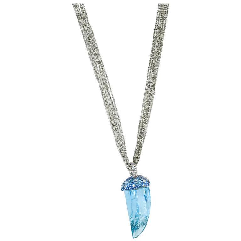 Samuel Getz Unusual Natural Rough Cut Aquamarine Diamond  Blue Sapphire Pendant
