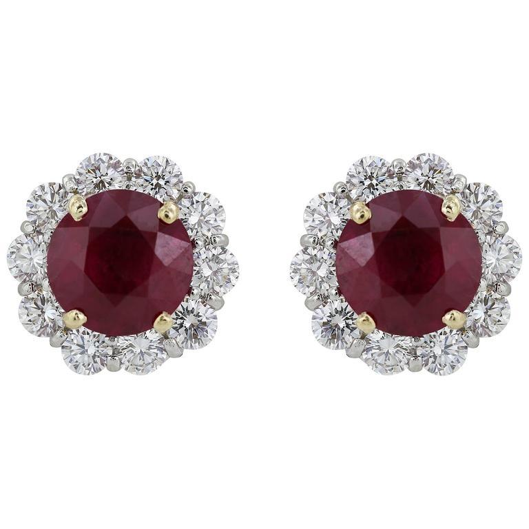 4.56 Carat GIA Natural Burma Ruby Diamond Earrings