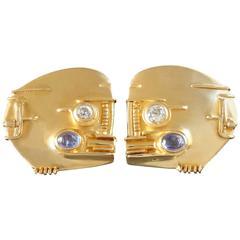 Fernand Demaret Modernist Diamond Sapphire Gold Clip-on Earrings