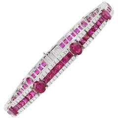 11.32 Carat Ruby and Diamond Bracelet