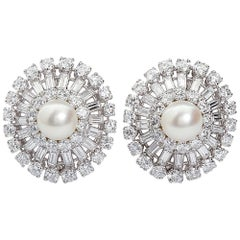 14.80 Carats Diamond and Pearl Cluster Earclips
