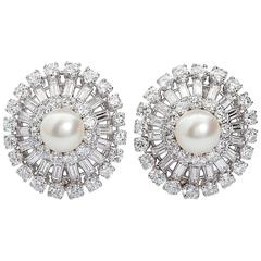 Diamond Pearl Cluster Earclips