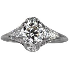 1920s Art Deco Platinum GIA Certified .95 Carat Diamond Engagement Ring