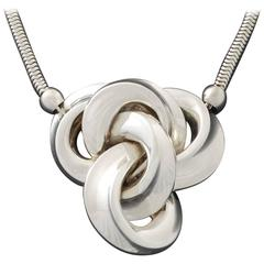 Henkel & Grossé Germany Modernist Silver Knot Necklace