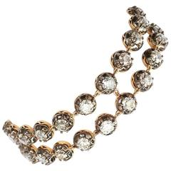 Antique 20 Carat Old European Diamond Silver-on-Gold Two Strand Bracelet