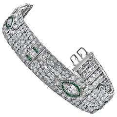 Art Deco Style Emerald Diamond Platinum Bracelet