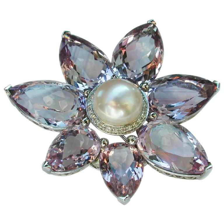 124 Carat Purple Amethyst Australian Pearl Diamond Coco Brooch/Pendant