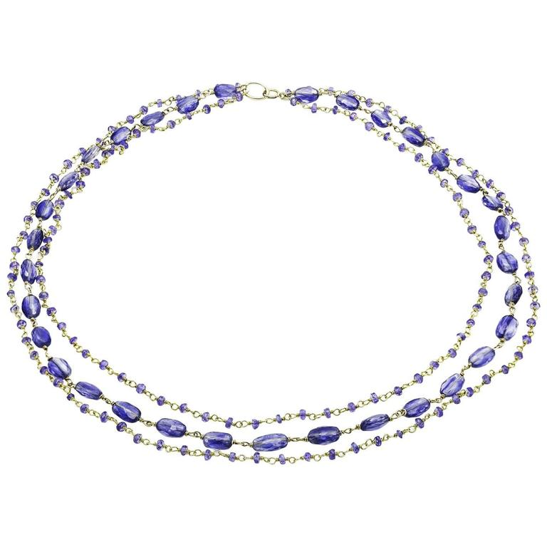 Tanzanite Kyanite Gold Vermeil Three  Strand Beaded Necklace