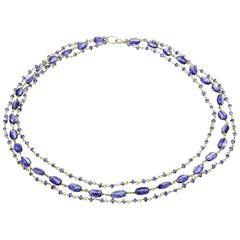 Tanzanite Kyanite Gold Vermeil Three Strand Beaded Necklace