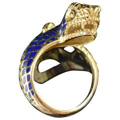 Detailed Blue and Green Enamel Gold Snake Ring
