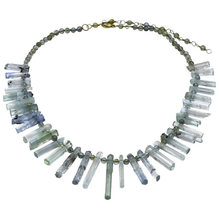 Raw Uncut Natural Aquamarine Crystal Wands Necklace