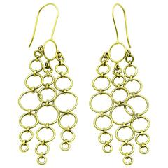 Gold Chandelier Earrings made of Hoops and Circles in 18 Karat Gold