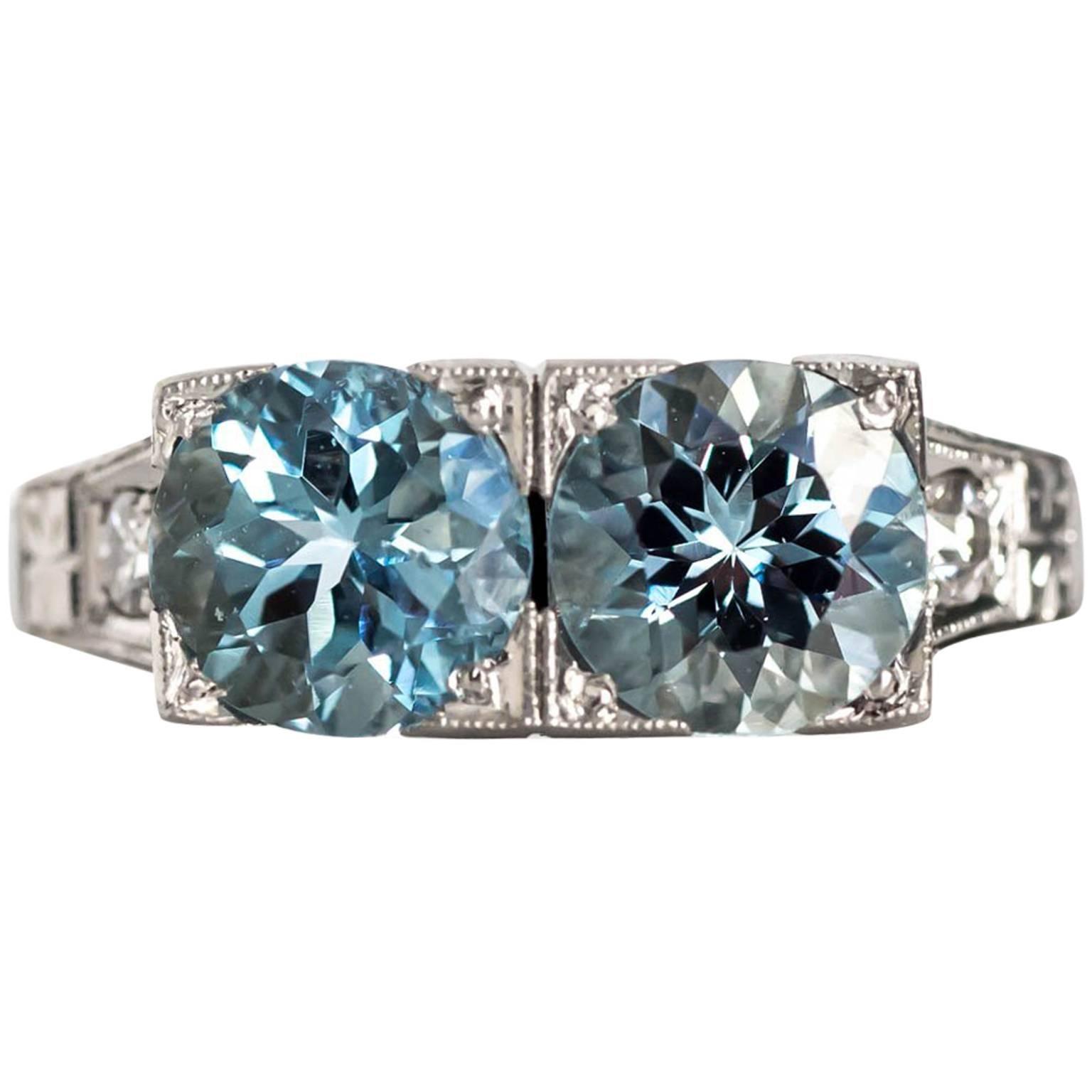 1930s Art Deco Platinum London Blue Topaz and Diamond Engagement Ring