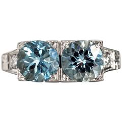1930s Art Deco Platinum London Blue Topaz and Diamond Engagement Ring