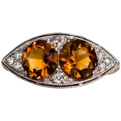 1910 Edwardian Platinum Navette Shape Two-Stone Citrine and Diamond Ring