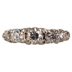 1900s Edwardian Yellow Gold and Platinum Prong Diamond Engagement Ring