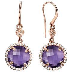 Rose Cut Amethyst with Diamond Halo Drop Earrings