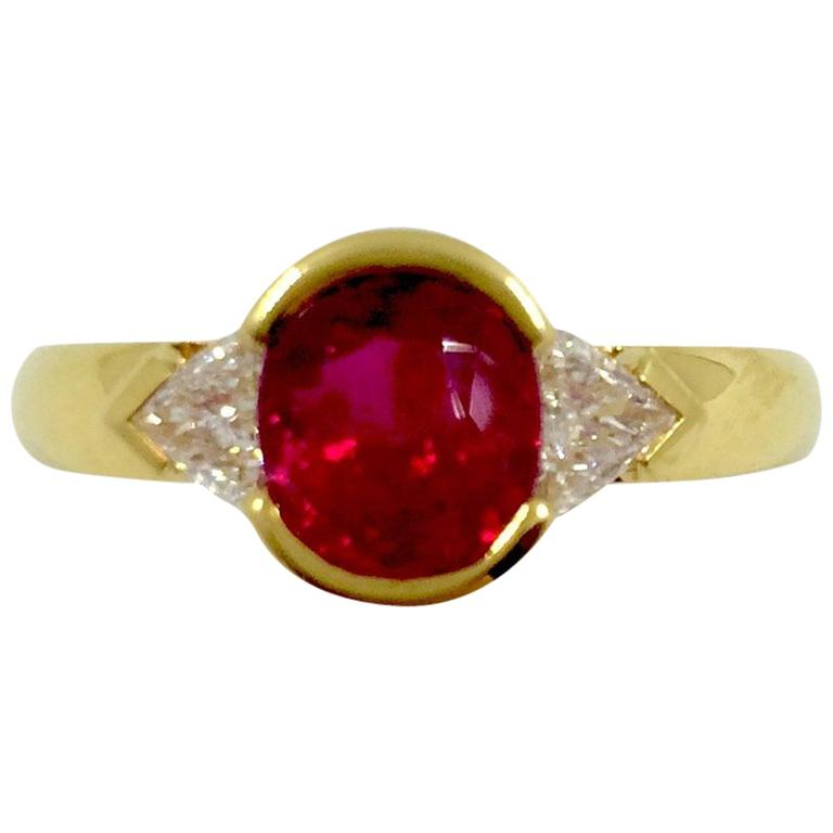 Burma Ruby Diamond Gold Ring For Sale