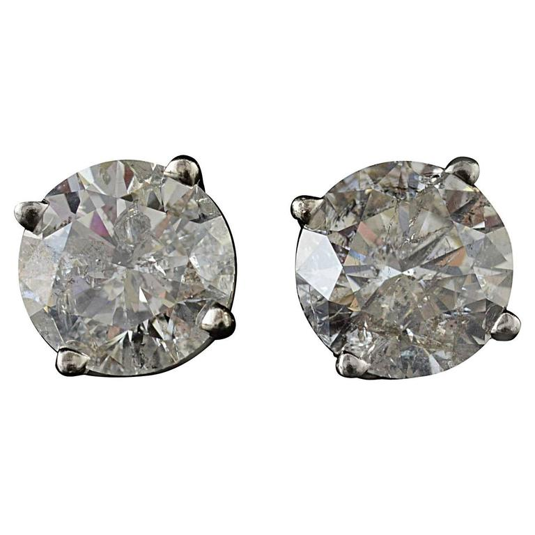 4.13 Carats Diamonds Gold Stud Earrings 1
