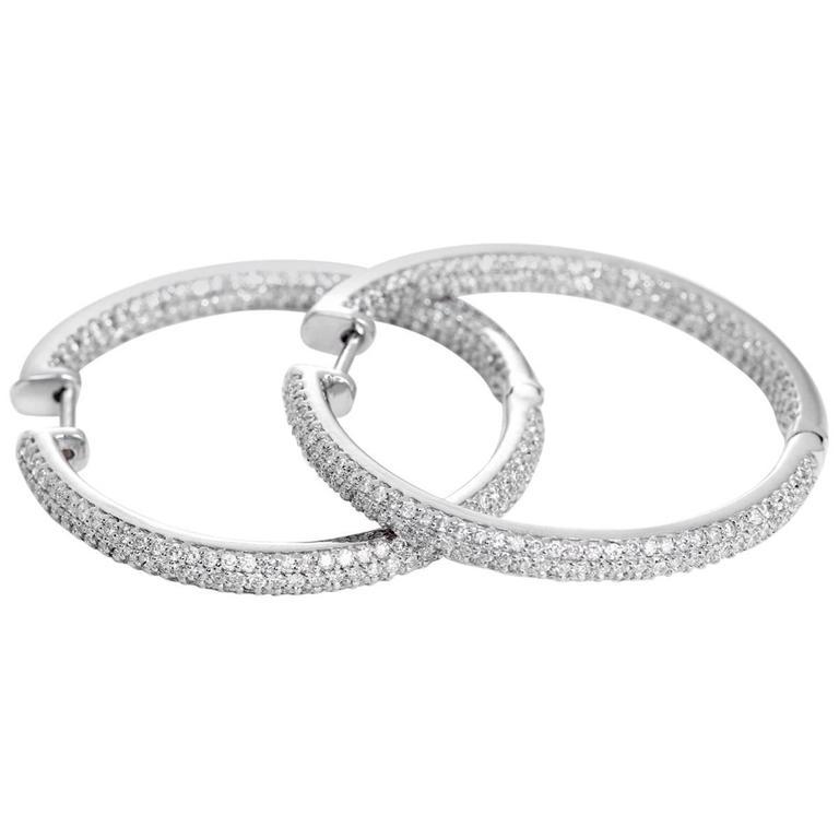 Beautiful Diamond Gold Inside-Out Hoop Earrings