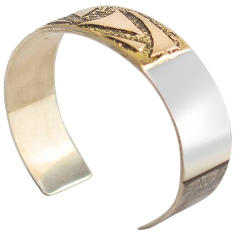 Sterling Silver Gold Cuff Bracelet