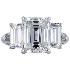 3.15 Carat F/SI1 GIA Certified Emerald Cut Diamond Platinum Engagement Ring